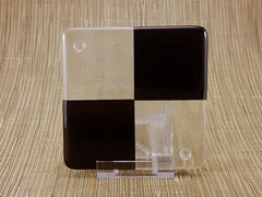 Black/clear glass coaster - 4 square