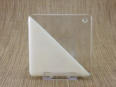 Cream/clear glass square coaster - triangle design