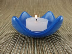 Blue glass small curved candle holder