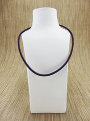 Purple silk necklace cord with silver plate clasp