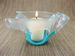 Sky blue folded handmade glass bowl