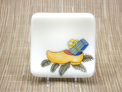 Christmas clog cream glass small curved plate