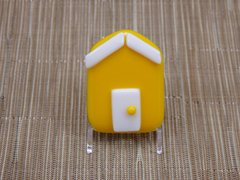 Beach hut glass fridge magnet - yellow with white trim