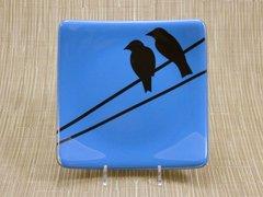 Blue glass medium square curved plate