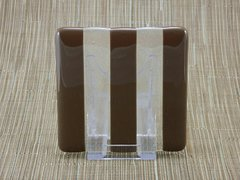 Chocolate/clear glass coaster - 3 stripe