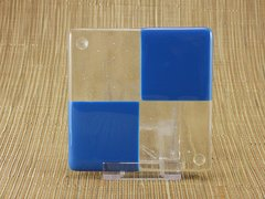 Blue/clear glass coaster - 4 square