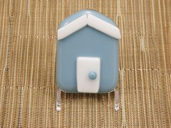Beach hut glass fridge magnet - steel blue with white trim