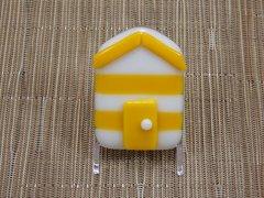Beach hut glass fridge magnet - yellow/white stripes with yellow trim