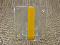 Yellow/clear glass coaster - 1 stripe