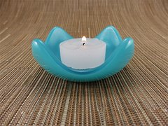 Blue (light) glass small curved candle holder
