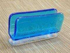 Blue (light) transparent glass business card stand