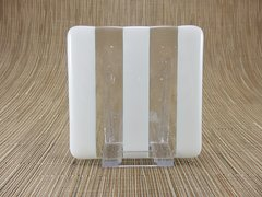 Cream/clear glass square coaster - 3 stripes