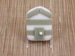 Beach hut glass fridge magnet - olive green/white stripes with olive trim
