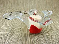 Flame red and black patterned twisted handmade glass bowl