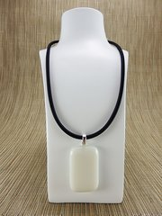 Cream rectangular glass pendant