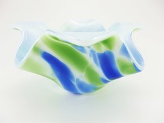Blue/green patterned glass bowl/candle holder