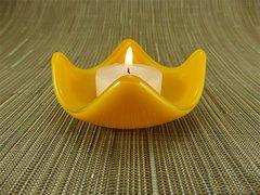 Yellow glass small curved candle holder
