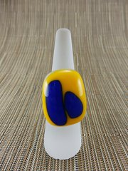 Yellow glass ring with blue insets