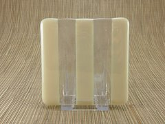 Ivory/clear glass coaster - 3 stripe