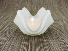 Cream glass small bowl or candle holder