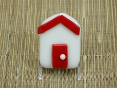 Beach hut glass fridge magnet - white with red trim