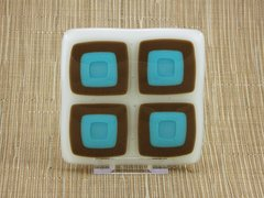 Retro blue chocolate handmade glass coasters (set 4)