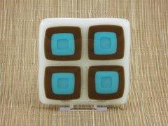 Retro blue chocolate handmade glass coasters (set 4)