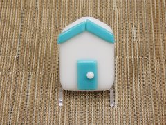 Beach hut glass fridge magnet - white with light blue trim