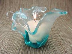 Turquoise blue folded handmade glass bowl