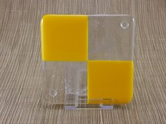 Yellow/clear glass coaster - 4 square