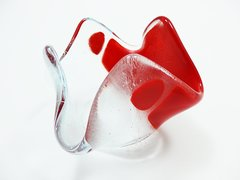 Dark red and clear glass bowl or candle holder