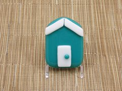 Beach hut glass fridge magnet - turquoise with white trim