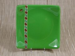 Green glass curved square plate with twisted strip