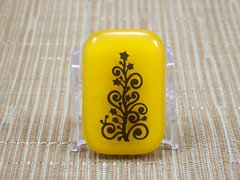 Christmas tree yellow glass fridge magnet