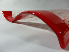 Dark red/clear rectangular glass wave