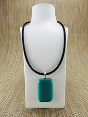 Turquoise blue rectangular glass pendant