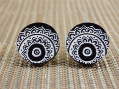 Black and white patterned wood stud earrings