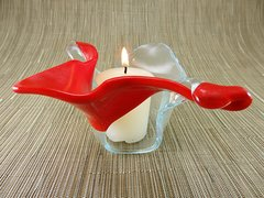 Flame red and clear twisted handmade glass bowl