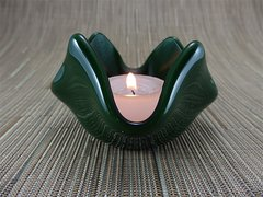 Dark green glass small bowl or candle holder