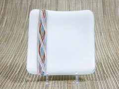 White glass small curved square plate with twisted glass inset