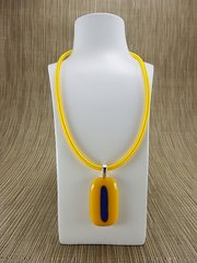 Yellow glass pendant with blue stripe