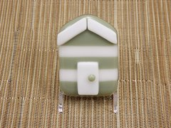 Beach hut glass fridge magnet - olive green/white stripes with white trim
