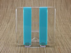 Blue (light) and clear glass coaster - 2 stripe