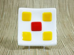 White glass small square curved plate