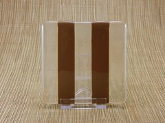 Chocolate/clear glass square coaster - 2 stripes