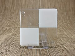 Cream/clear glass square coaster - 4 squares