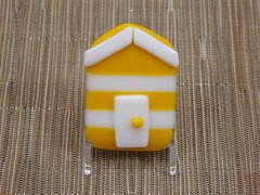 Beach hut glass fridge magnet - yellow/white stripes with white trim