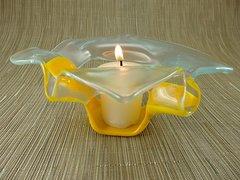 Sunflower yellow open handmade glass bowl