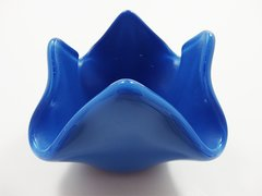 Blue glass small bowl or candle holder