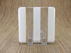 White/clear glass coaster - 3 stripe